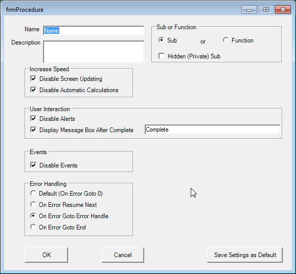 vba procedure generator