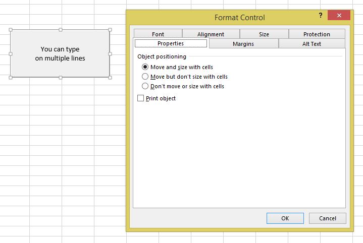 excel format button properties