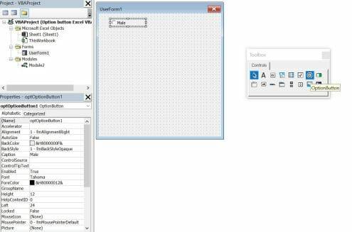 vba insert option button in userform