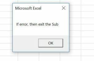 vba on error exit sub