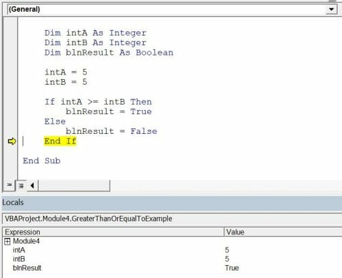 vba comparison operators greater than or equal to
