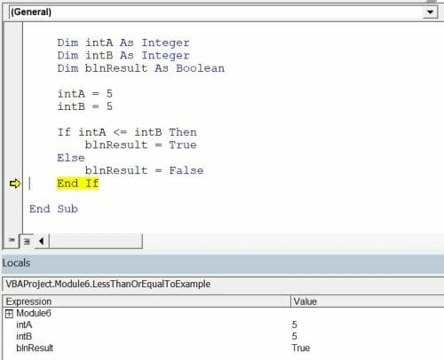 vba comparison operators less than or equal to