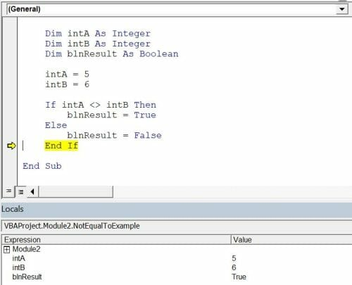 vba comparison operators not equal to