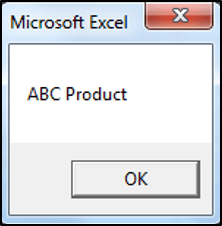 Message Box showing Product Name