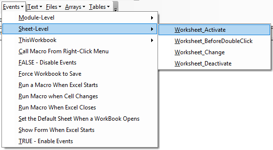 vba events code examples