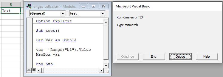 get cell value assign variable