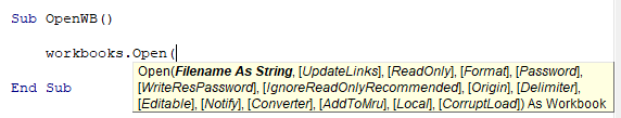 vba open workbook syntax