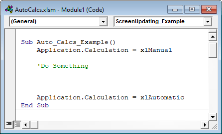 vba disable automatic calculations