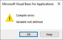 vba compile error variable