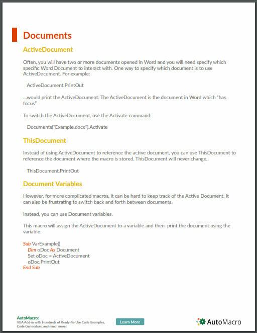 word vba tutorial pdf