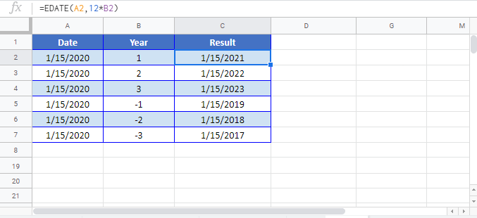 Add Years to Date Google sheet