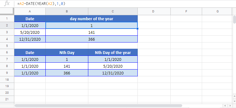 Day-Number of year Google Sheet