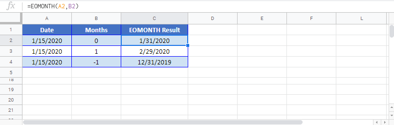 EOMONTH Function in Google Sheet