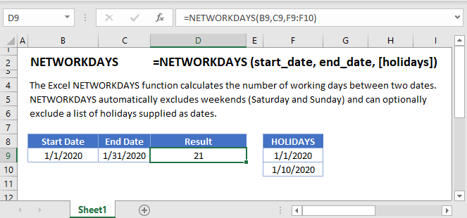 NETWORKDAYS Main Function