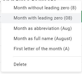 custom month format google sheets
