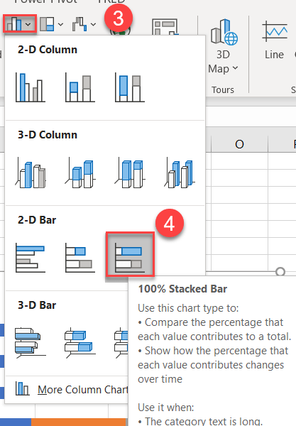 100% Stacked Bar Steps