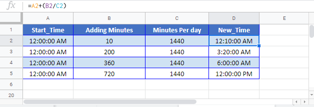 Add Minutes Time Google