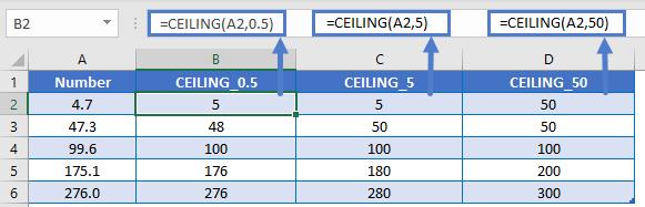 CEILING 0.5 5 50