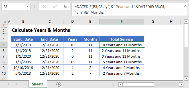 Calculate Years Months Main