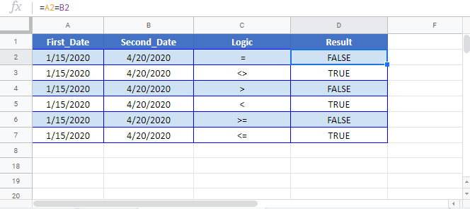 Compare Two Dates Google Sheet