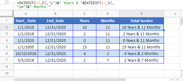 Calculate year and month Google-Sheet