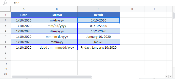 Date Format Google sheet