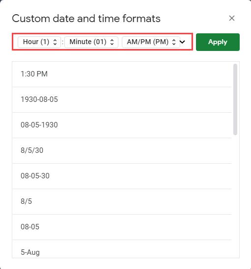 Google Time format