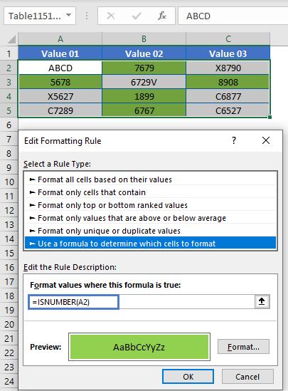 ISNUMBER Data Validation