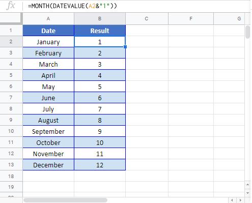 Month Name to google sheet