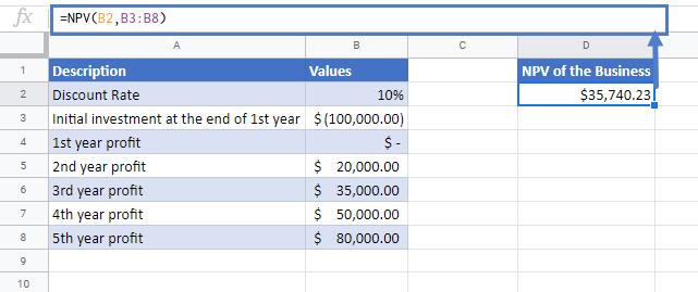 NPV Function Google Sheets