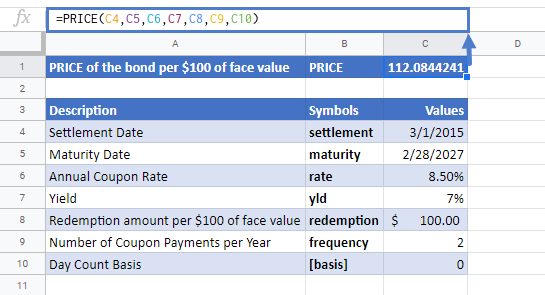 PRICE Function in Google Sheets