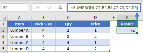 SumProduct Three Columns