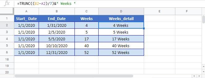 Weeks between days Google