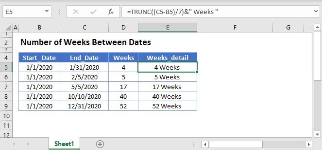 Weeks between days Main