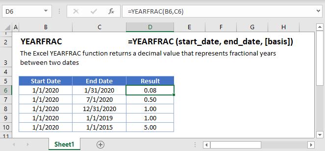 YEARFRAC Main function