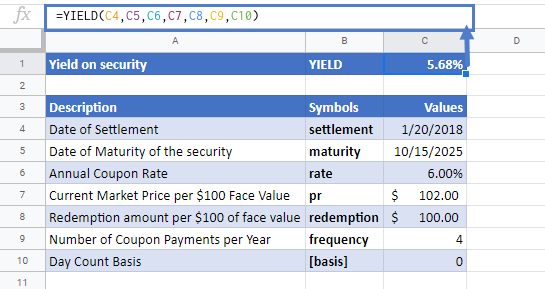 YIELD Function in Google Sheets