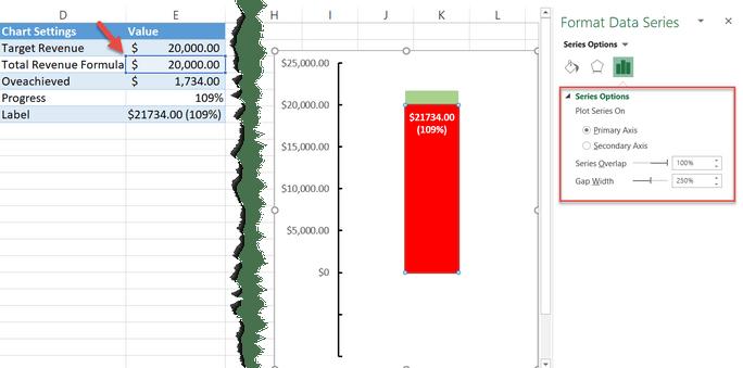 Adjusting the spacing between data markers in Excel