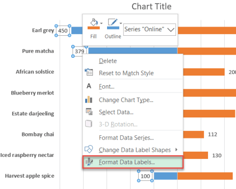 Centering data labels in Excel