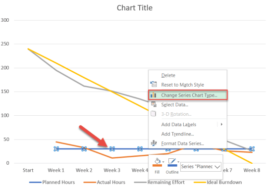 How to change series chart type in Excel