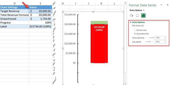 Changing data marker gap width in Excel