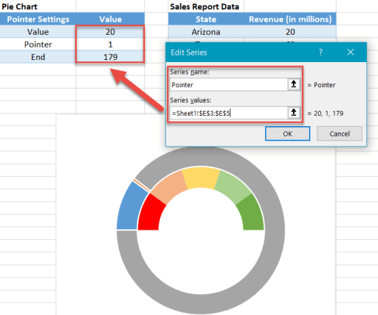 Add the pointer data into the equation by creating the pie chart