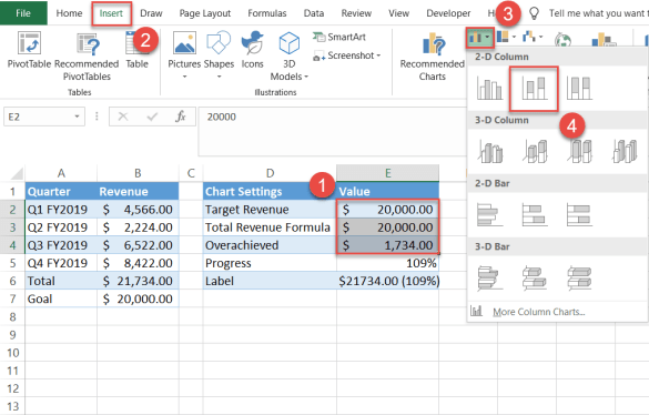Creating a stacked column chart in Excel
