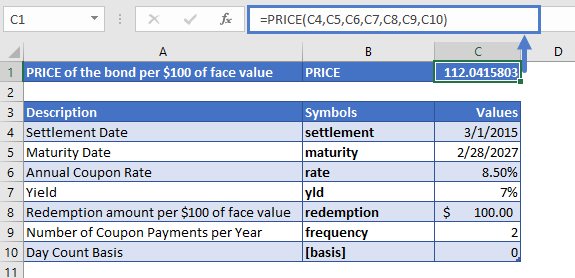 Excel Function PRICE Example 1