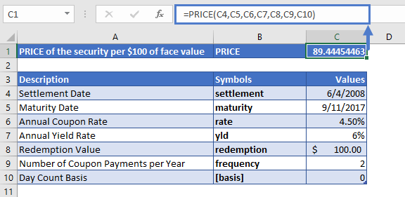 Excel Function PRICE Example 2