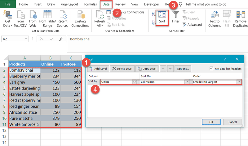 Sorting rows in Excel