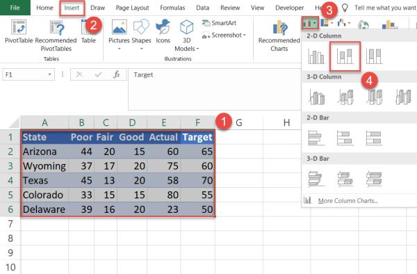 Plot a stacked column chart