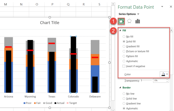 "Recolor the ""Actual"" columns black"