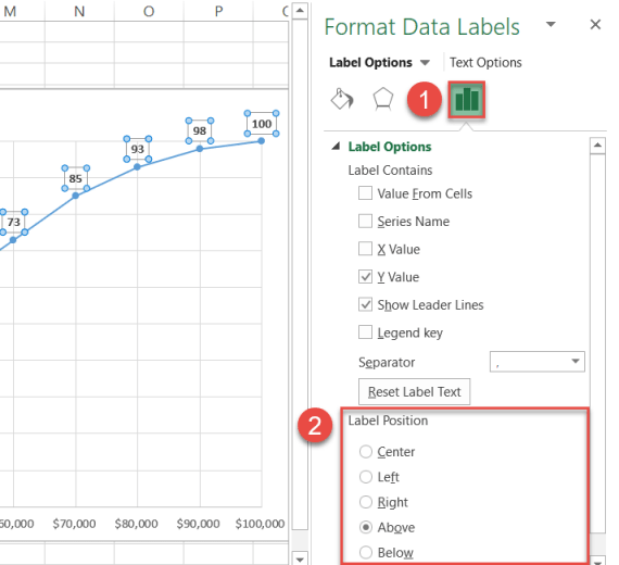 Reposition the data labels